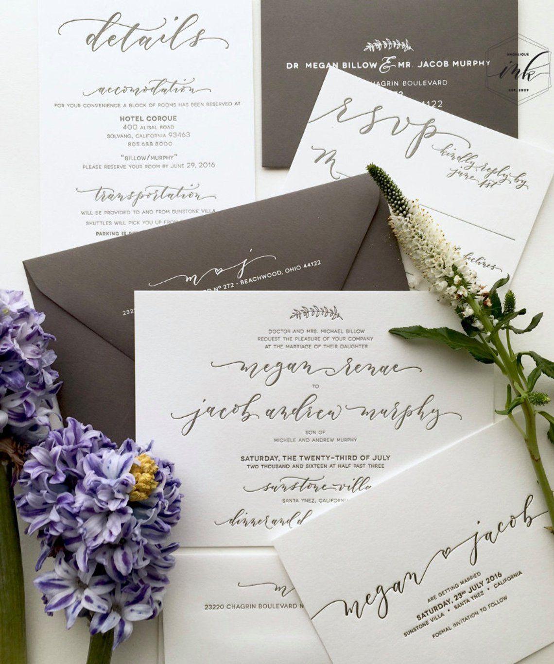 Boho Chic Handwritten Calligraphy Letterpress Wedding