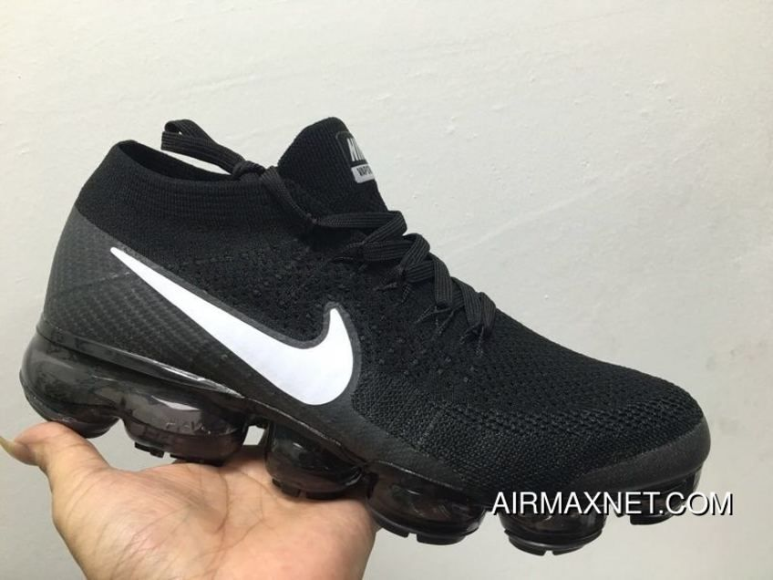 35182ad862026 Nike Air VaporMax Flyknit 2018 Atmospheric Flyknit Mesh Pad Jogging Shoes  Black And White New Year Deals