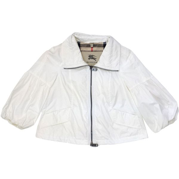 43e66122463 Pre-owned Burberry White Cropped Rain Jacket ($225) ❤ liked on ...