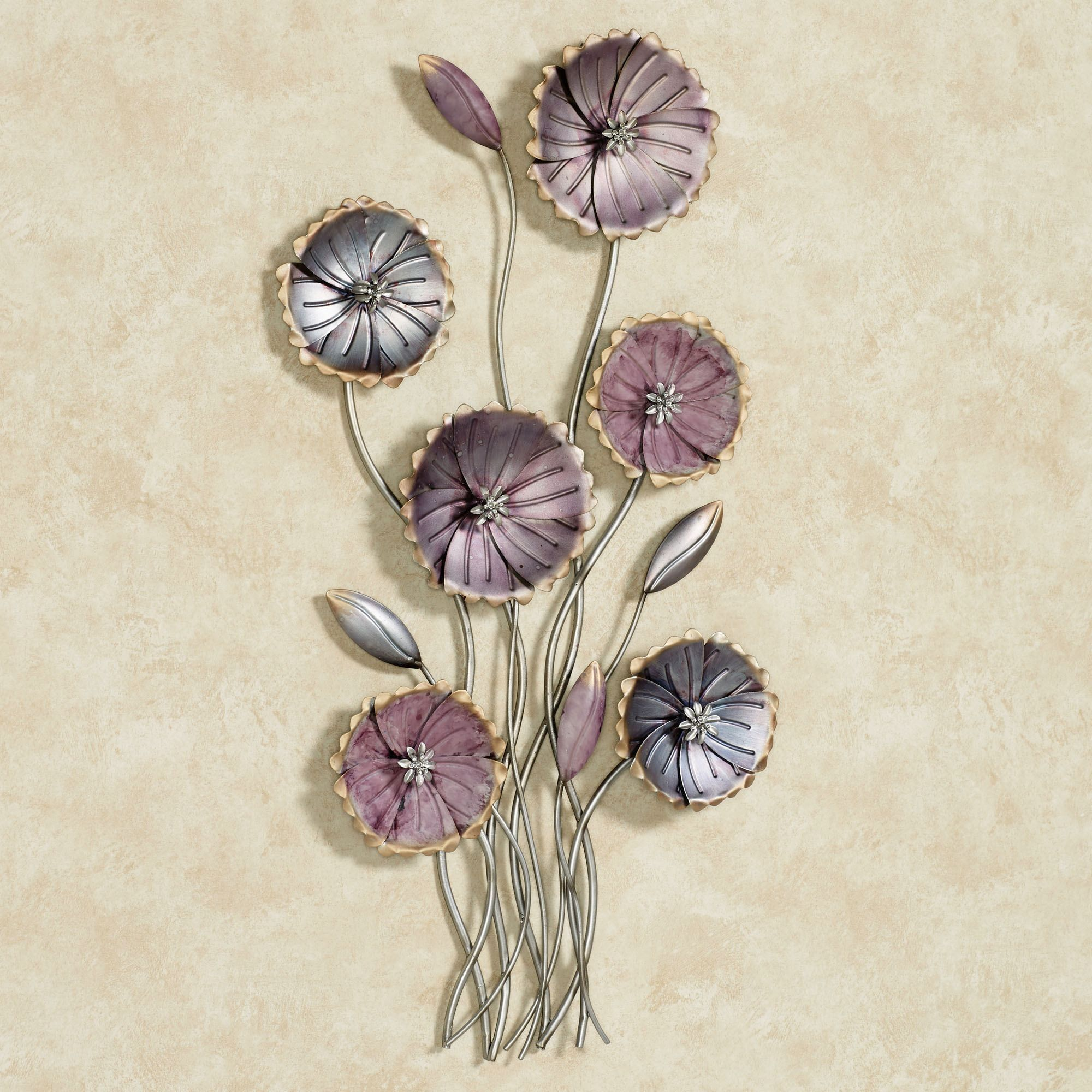 Metal Wall Art Flowers charming floral array purple metal wall art | metal wall art
