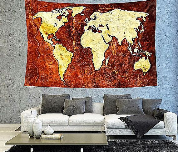 Rustic golden brown world map tapestry boho world map wall decor rustic golden brown world map tapestry boho by christinedecorshop gumiabroncs Images
