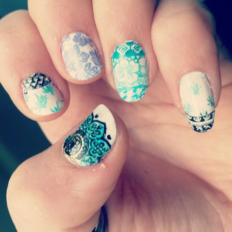 tropical themed nails done with mo you London nail plates