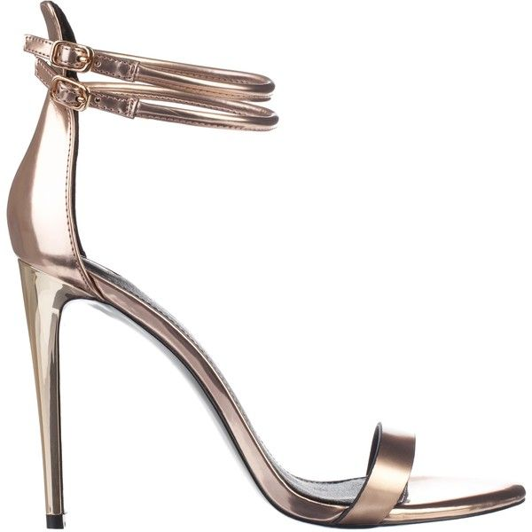 River Island Gold Double Strap Barely There Sandals (€30) ❤ liked on Polyvore