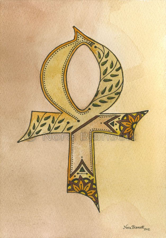 Ankh Egyptian Symbol For Life Watercolour And Ink By Nora Blansett