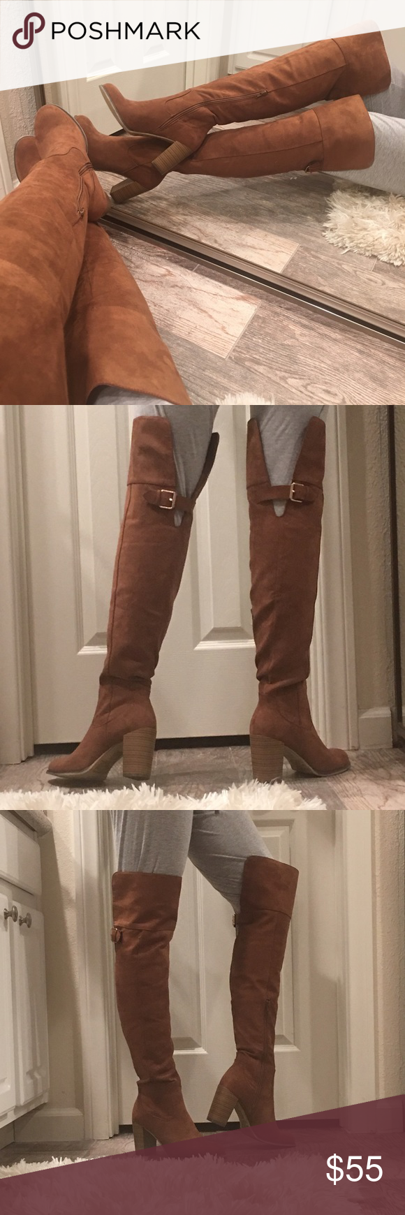 "BRING 'EM TO THEIR KNEES NWOT - YUMMY deep Butterscotch vegan suede over the knee boots -approx 22"" H from heel bed- has an approx 3"" heel and accented with gold tone adjustable buckle at back of boot approx 5"" down from top of boot. Great condition Shoes Over the Knee Boots"