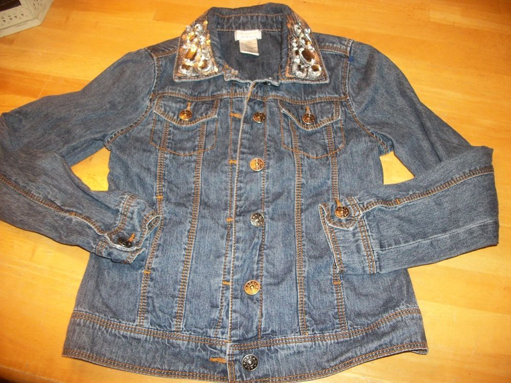 DreamPoP Girls Jean Jacket Bling Stones Sparkle size 10 12 by cynthia rowley