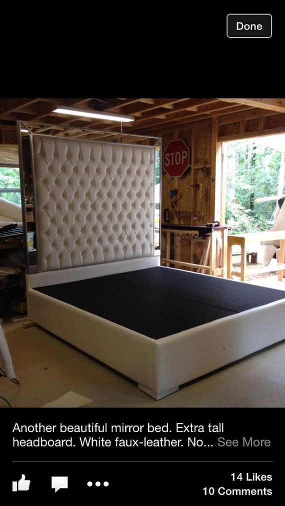 White faux leather king size platform bed queen size bed for Mirror queen bed