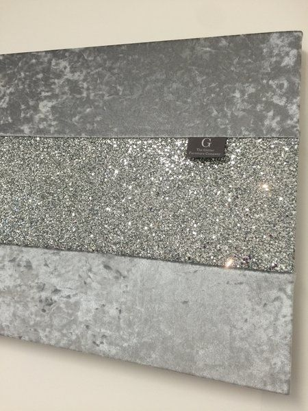 Stunning Gunmetal grey crushed velvet with silver glitter wall art - Large & Image result for silver glitter wall | Amazing Feats | Pinterest ...