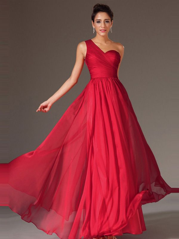 RED ONE SHOULDER A LINE SLEEVELESS LONG CHIFFON PROM DRESS 2016 ...