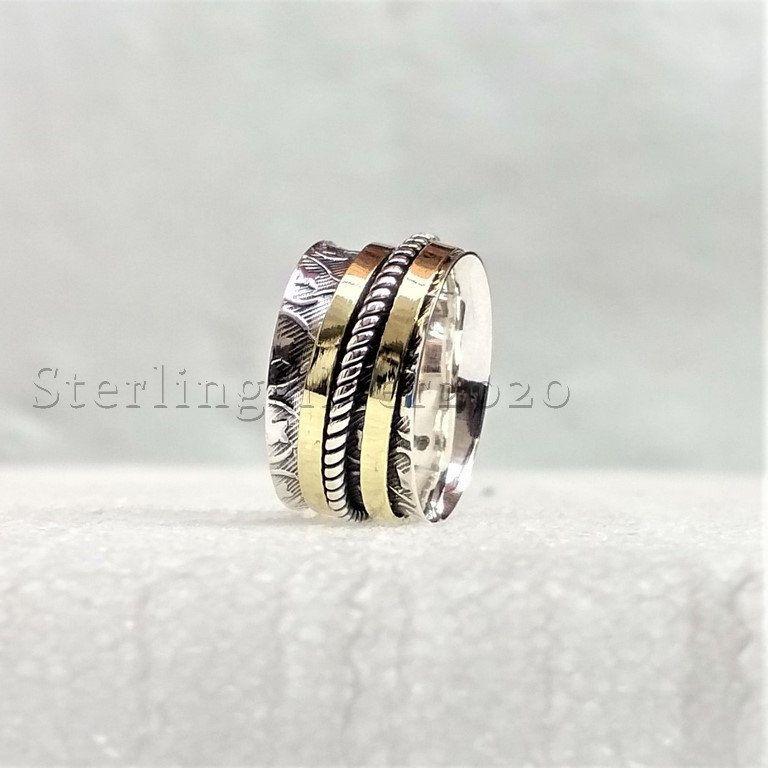 Silver Spinner Ring Amethyst /& Heart Spinner Ring Silver Fidget Ring Silver Meditation Ring