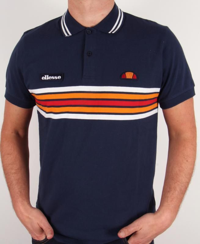 610584eca Ellesse Elite Striped Polo Shirt in Navy Blue,heritage striped polo ...