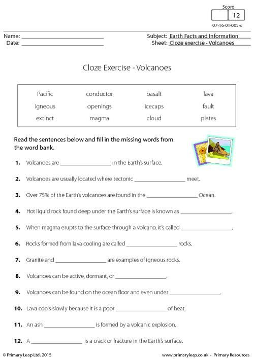 Primaryleap Co Uk Cloze Exercise Volcanoes Worksheet Volcano