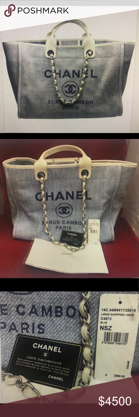 c5bb39f1df Chanel Light Blue Deauville 2 way Tote Canvas Bag Brand New Authentic Chanel  Deauville Large Light