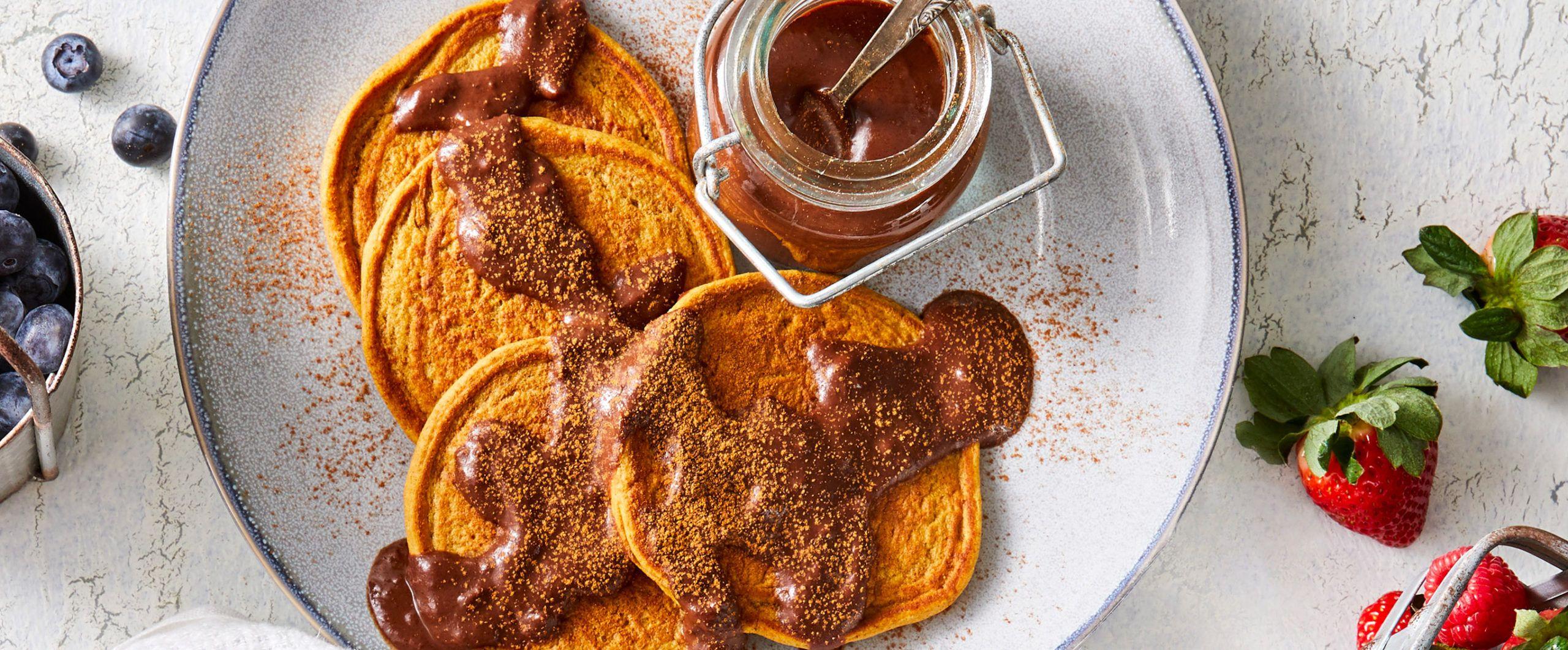Sweet Potato Flapjacks With Warm Chocolate Sauce Forks Over Knives Vegan Breakfast Recipes Food Processor Recipes Raw Food Recipes