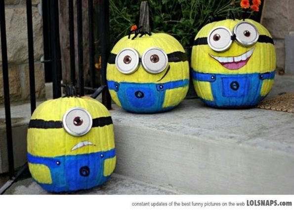 No carving but just Pumpkin painting idea for Halloween Minion - halloween pumpkin painting ideas