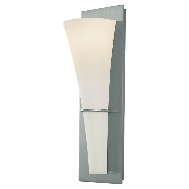 "Barrington Collection 1-Light 15"" Brushed Steel Wall Sconce with Opal Etched Glass WB1341BS"