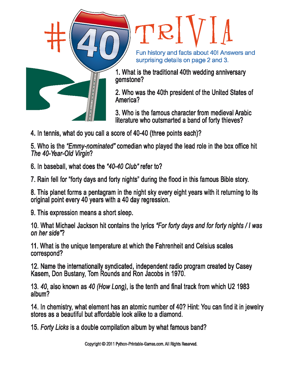 Number Forty Trivia A Great Birthday Party Game