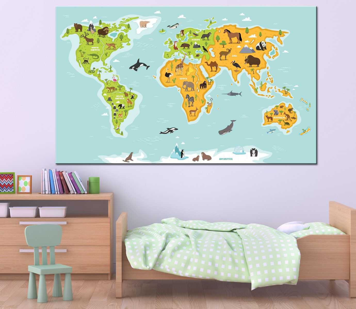 animal map for kids world map canvas print for children cute illustrated preschool cartoon globe with animals oceans and continents