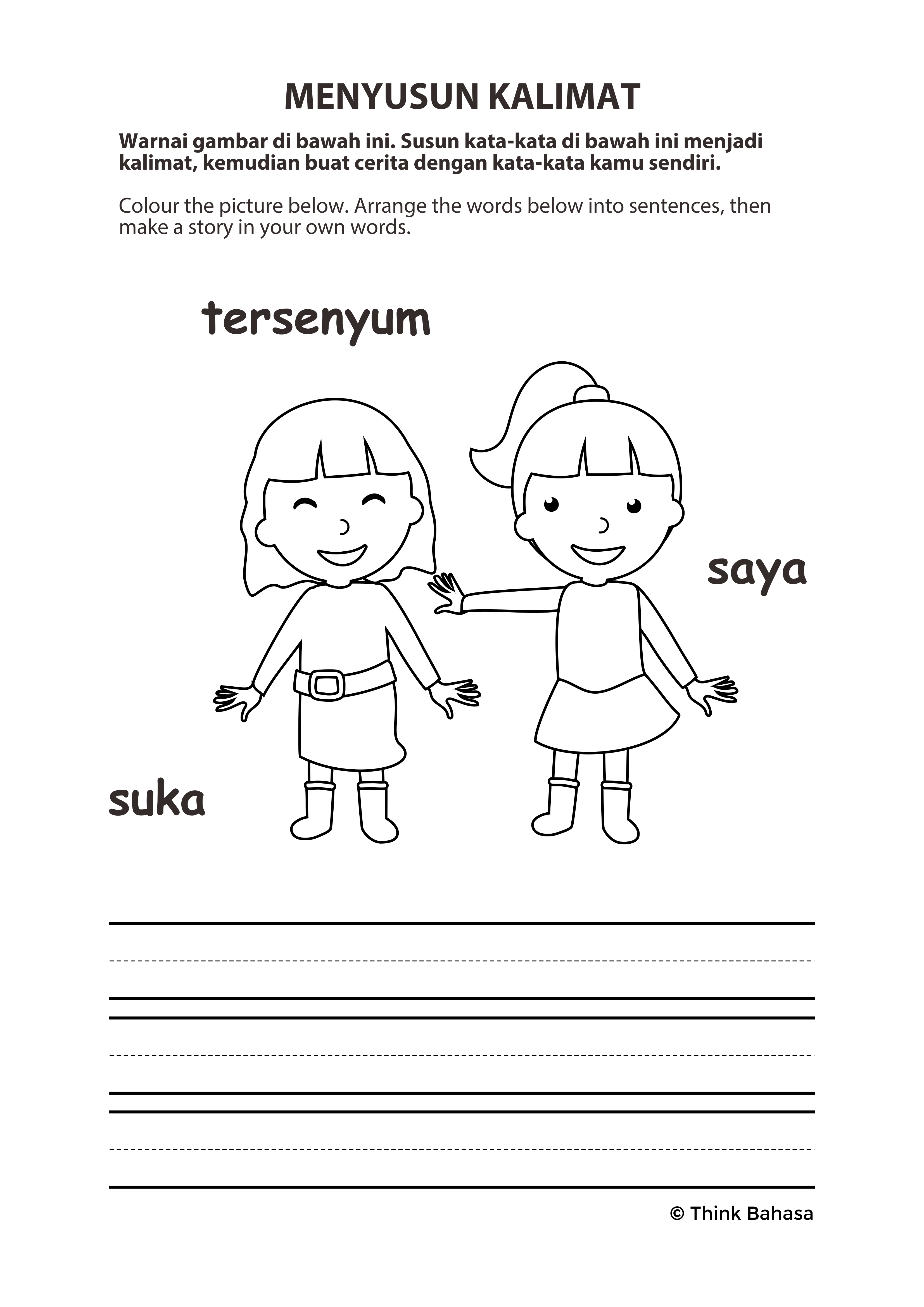 Indonesian Lote Worksheet Indonesian Language Sight Word Sentences Word Sentences