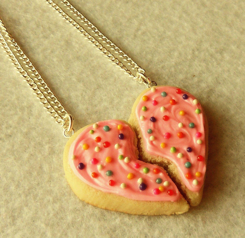 best friends sugar cookie half heart best friend necklaces bff