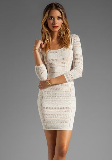 CATHERINE MALANDRINO 3/4 Sleeve Deep Square Neckline with Side Ruching in Moon