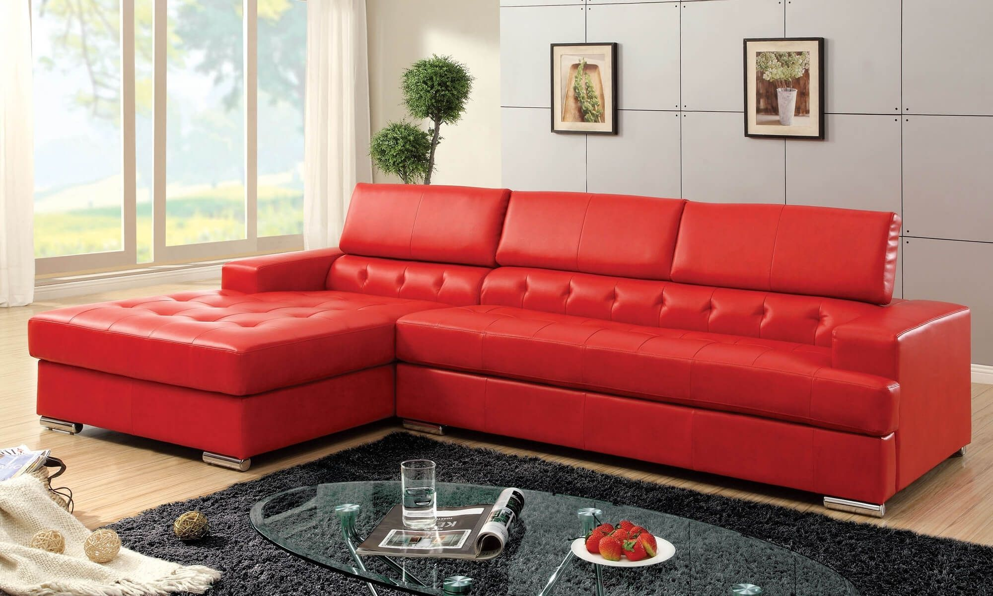 Incroyable Modern Red Leather Sectional Sofa