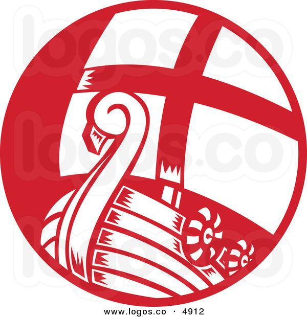 Royalty Free Vector of a Red and White Viking Boat Logo