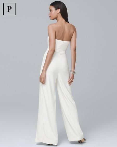 383f1be9a44e Women s Petite Convertible White Strapless Split-Leg Jumpsuit by White  House Black Market