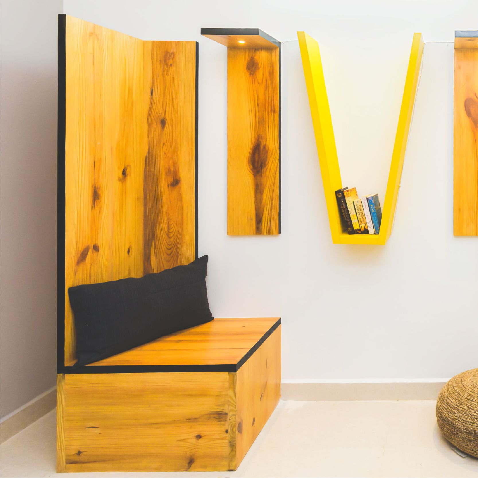 To living the good life! . . . #oyo #oyoliving #oyoxdesign #furniture #spacedesign #spatialdesign #wooden #seating #wall #bookshelf #yellow #bookcorner #recreational #commonarea #bangalore #spaces #interiorstylist #interiordecor #decor #ideas #design #love #lovefordesign #unique #livingthegoodlife