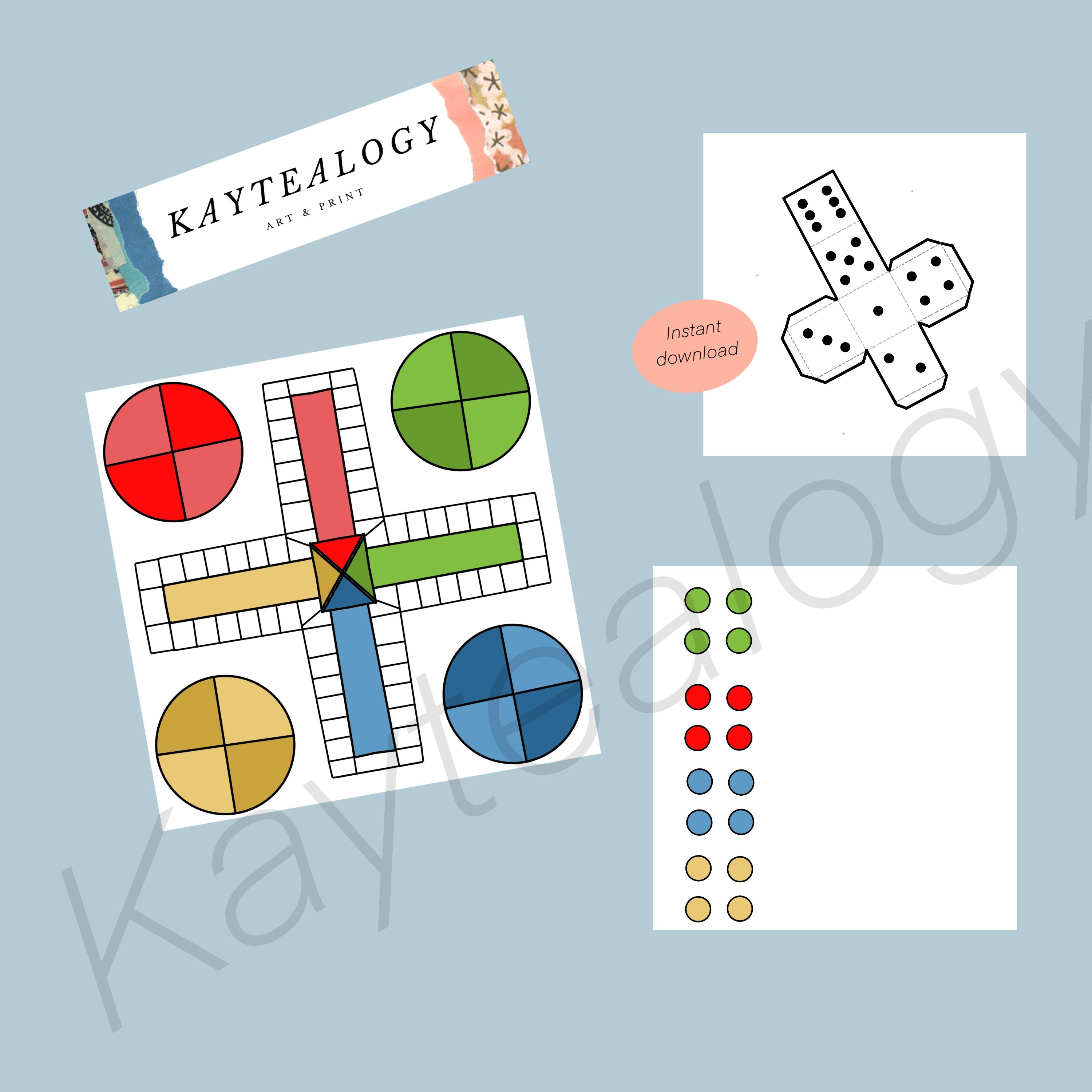 Classic ludo, board game, printable game, family