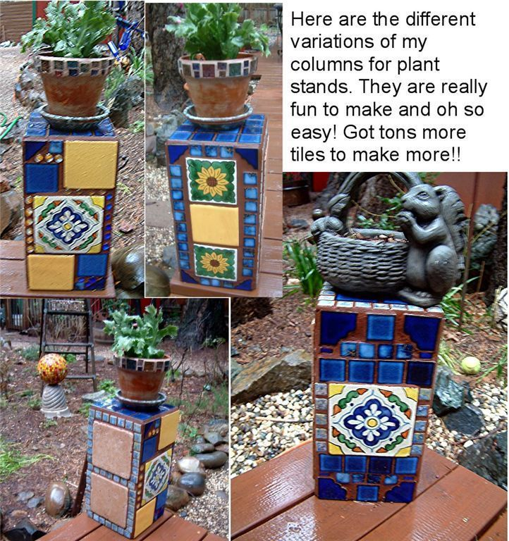 Decorated Cinder Blocks As Plant Stands No Tutorial But Great Design Idea To Copy Diy Plant Stand Mosaic Outdoor Crafts