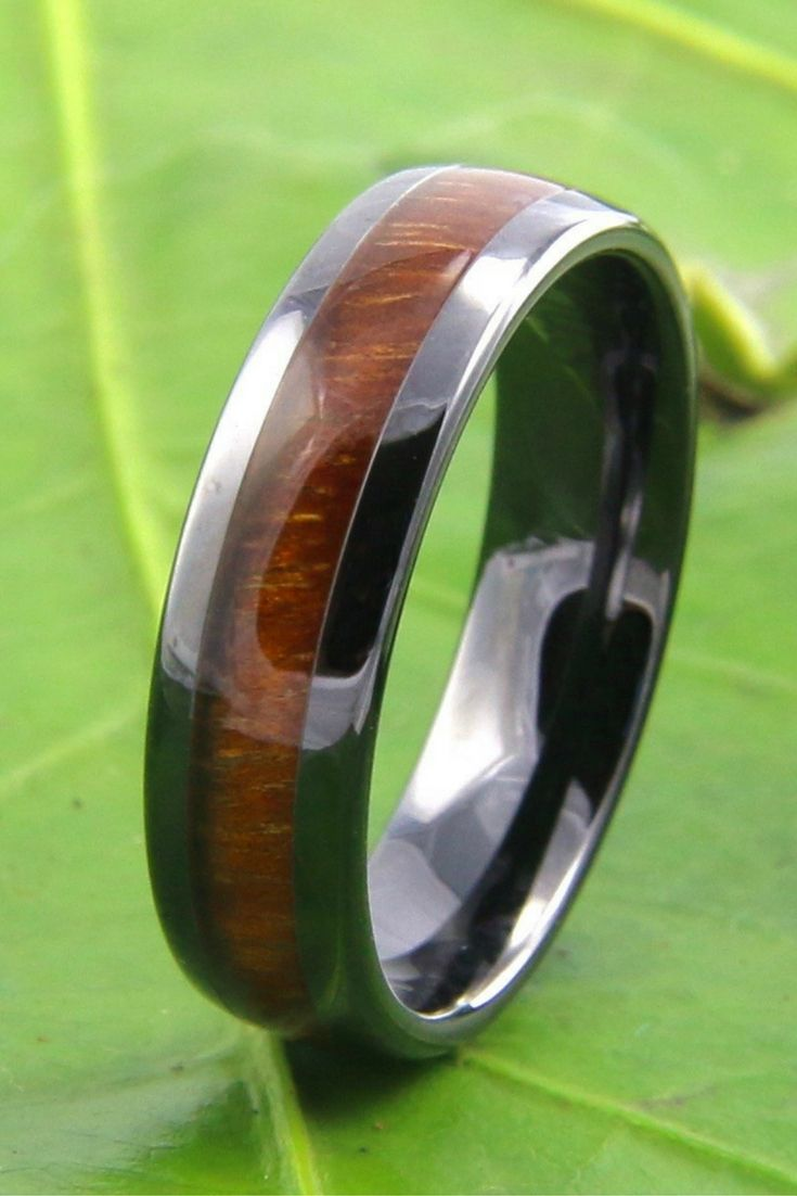 Classic Black Ceramic Koa Wood Ring 6mm Width Rings