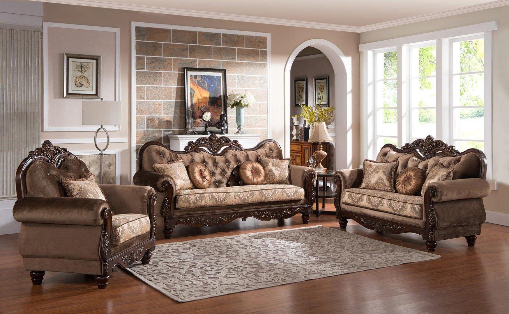 Cherry Finish Wood Sofa Set 3Pcs Traditional Cosmos Furniture Zoya
