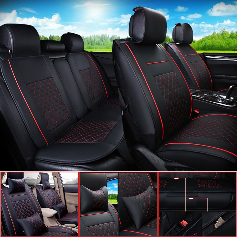 Deluxe Edition PU Leather 5-Seats Car Seat Cushion Cover Front Rear With Pillows