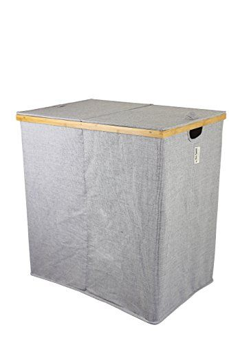 "Large Laundry Sorter Twill Large Double Sorting Bamboo Laundry Hamper  24 X 1575 X 24""h"