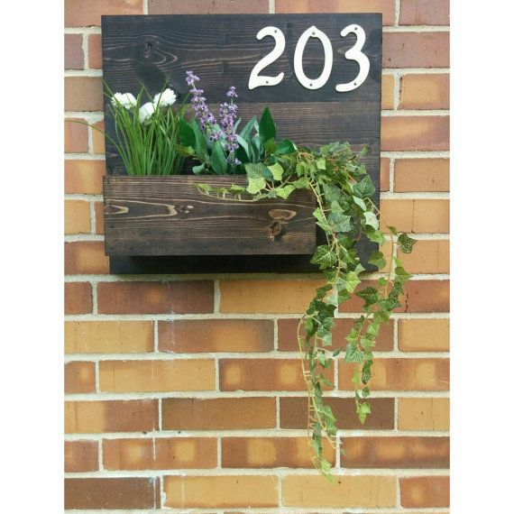 Rustic Address Planter Address Sign House Numbers Sign Address Plaque New House Address Planter Horizontal Address Sign House Number Sign House Numbers Planters