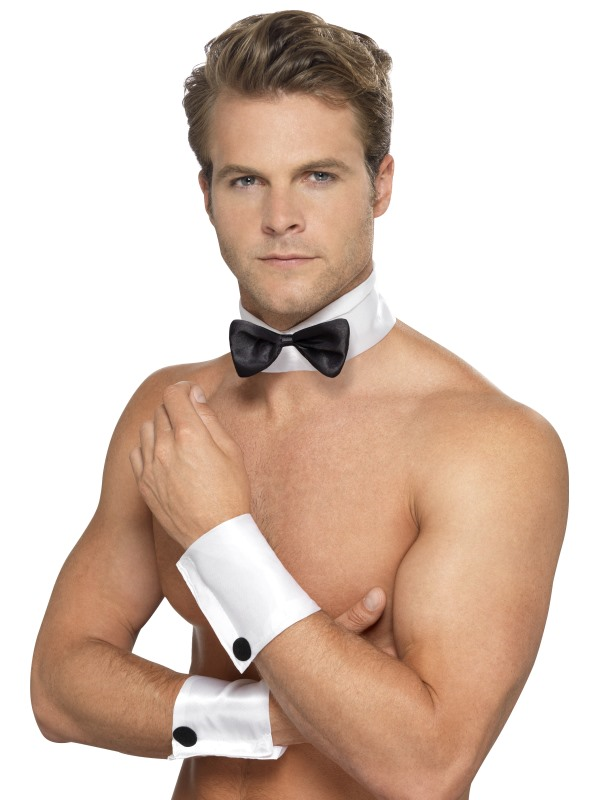 a77ebd91e4 Cheekyfun Naughty Fancy Dress Male Stripper Kit by Smiffy s Includes Cuffs  Bow Tie and Collar