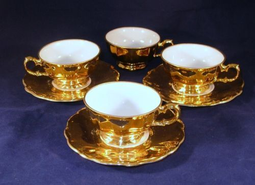 details about vintage fena porzellan porcelain china 10 piece demitasse set gold gilded trim