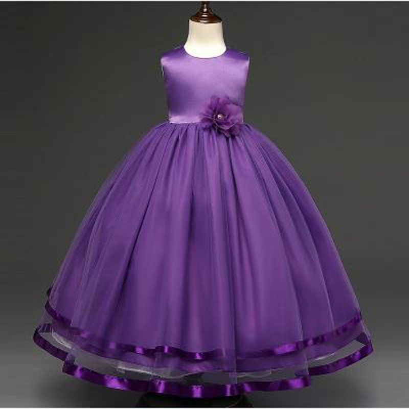 2017 New Arrival Flower Girls Dress For Wedding Events White Purple ...