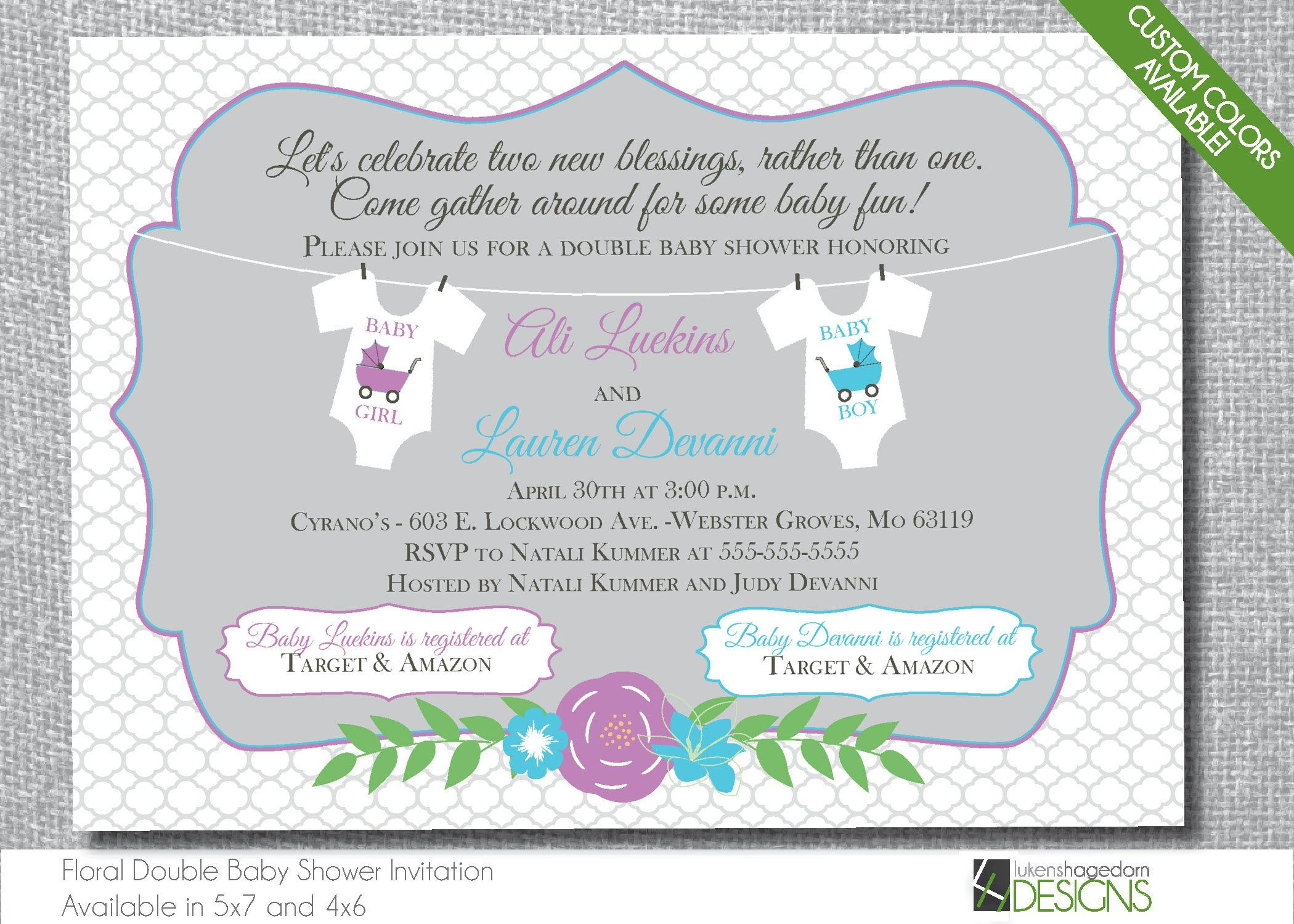 Floral Spring Double Baby Shower Invitation - Custom Colors ...