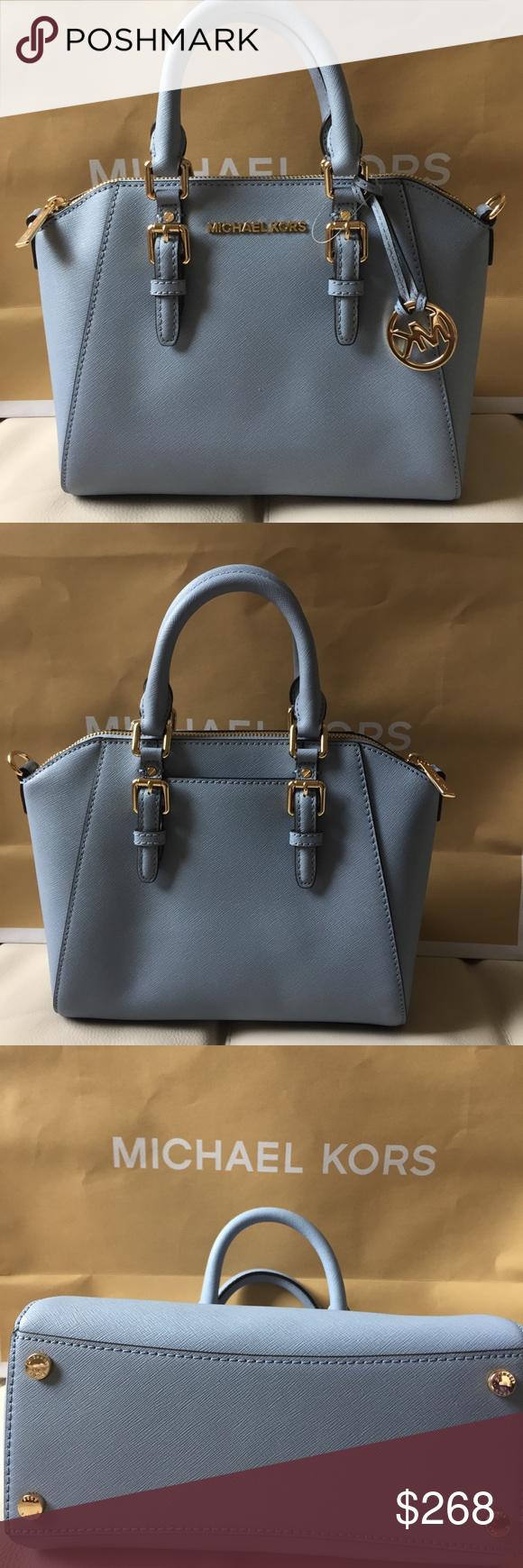 67c10cb1f539 Spotted while shopping on Poshmark  NWT MICHAEL KORS MEDIUM CIARA PALE BLUE  SATCHEL!  poshmark  fashion  shopping  style  Michael Kors  Handbags