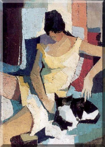 """Paolo Frosecchi (Italian, b. 1924) - """"Nanà col gatto"""" (Nanà with cat), 1961"""