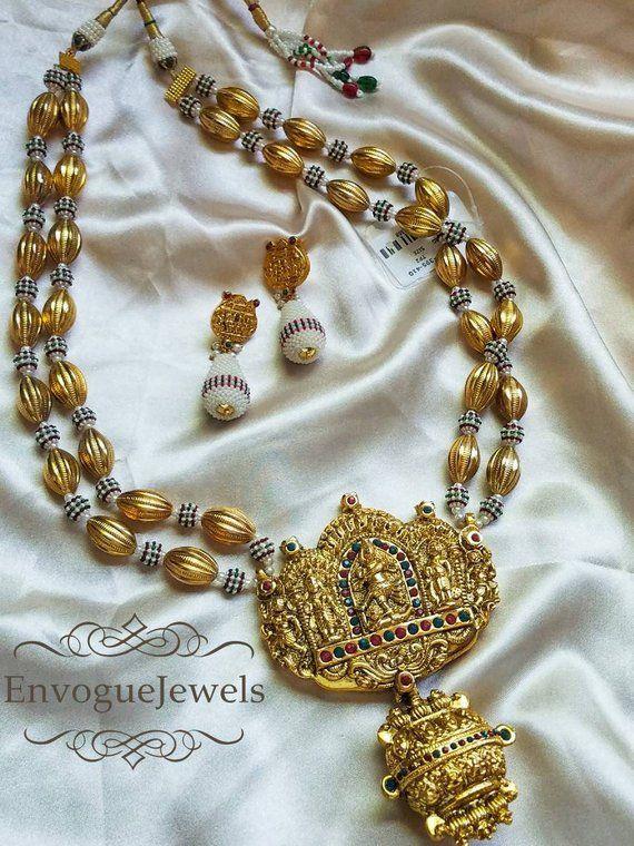 31beac898 Temple Jewelry, Dholki Mala, South Indian jewelry, Temple necklace set,  Natraj pendant, Indian weddi