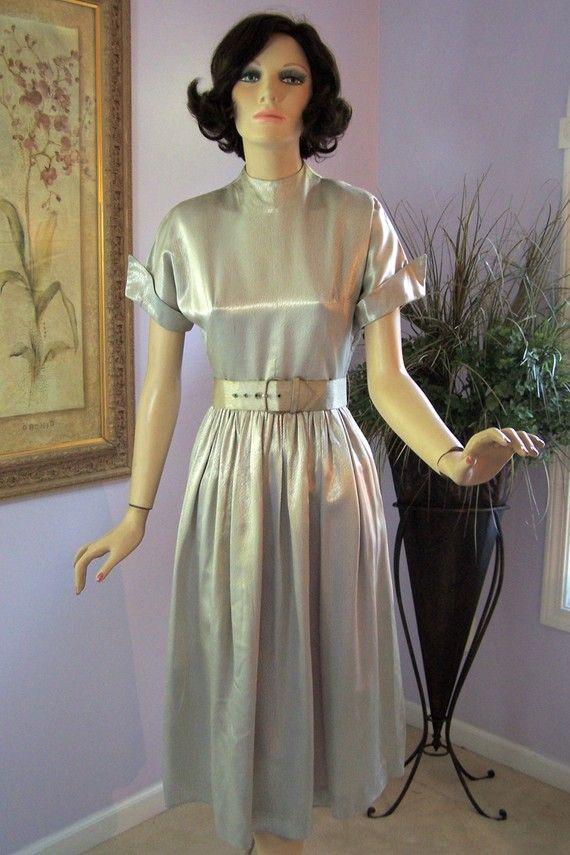 1940s Dress Silky Stars Vintage 40s Dress: Vintage 40s Dress Silver Satin Dinner Dress By Dale Lynn