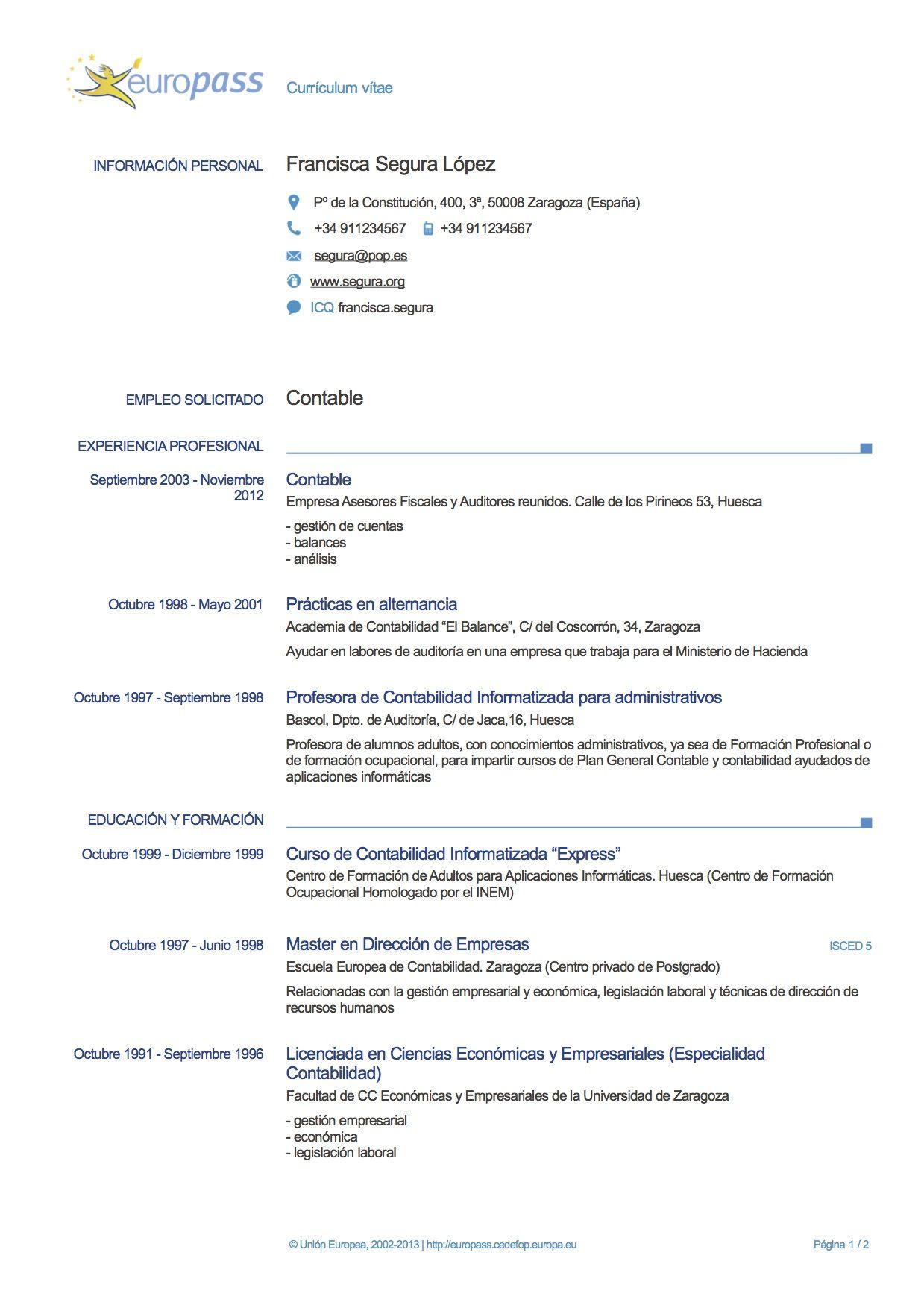 Europeo Modelos De Curriculum Vitae Curriculum Vitae Ejemplos