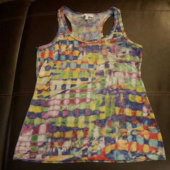 Tank Delias Multi color racer back tank. Good condition. Size large fits like a medium. Delia*s Tops Tank Tops