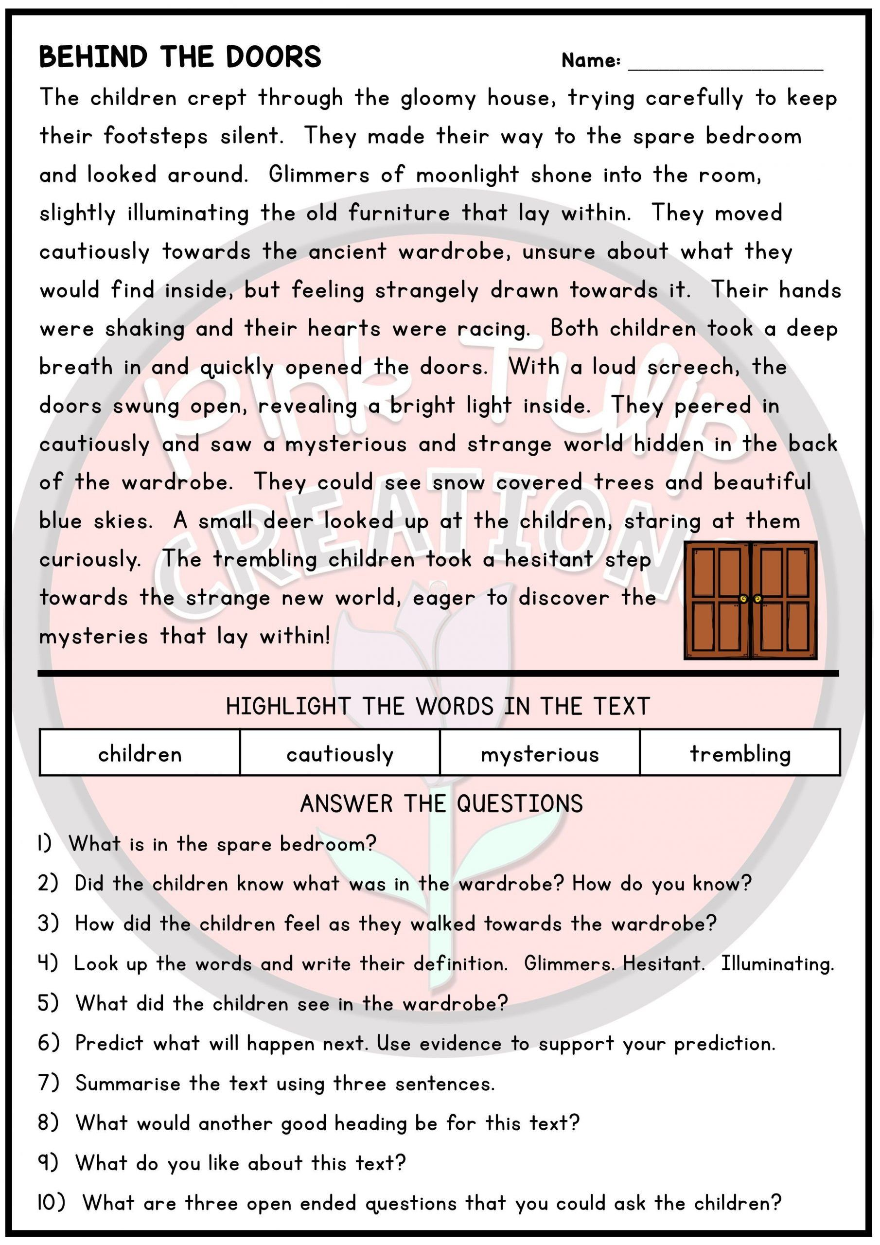 Text Evidence Worksheets 3rd Grade 10 Page Reading