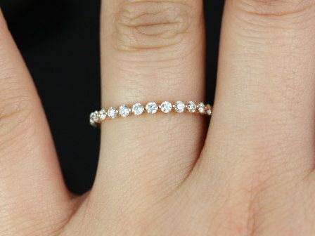 Petite Bubble & Breathe 14kt  Rose Gold  Diamond Almost Eternity Band (Other Metals and Stone Options Available). $1,090.00, via Etsy.