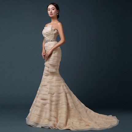 Xi Luosha Slim fishtail wedding champagne bridal Bra straps trailing wedding 2015 new