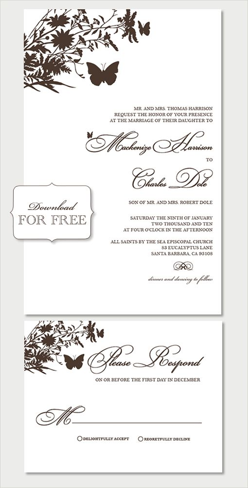 Free Samples from Shine Wedding Invitations Butterfly - download free wedding invitation templates for word
